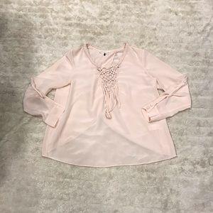 Rebecca Taylor silk braided neckline blouse Size 6